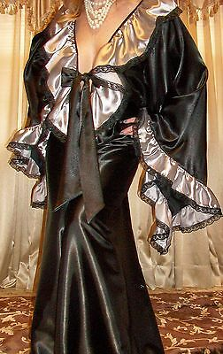 Vtg Blk Silver Sweep Long Palazzo Pants Lace Slip Satin Jumpsuit Nightgown 1X 2X