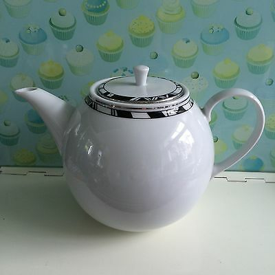 Stylish Habitat White With Black & Silver Metropolitan Pattern  2pint Teapot