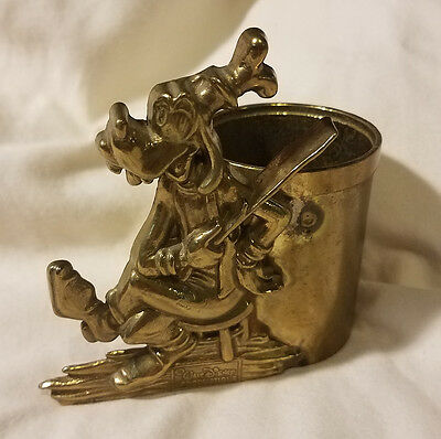 Walt Disney Productions Goofy Brass Vintage Stationary Cup Accesory