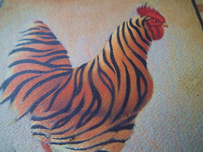 Tiger Rooster Wooden Wall Plaque Primitive Country Rustic Decor