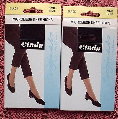 2 pairs of CINDY Micromesh Knee Highs - BLACK One Size