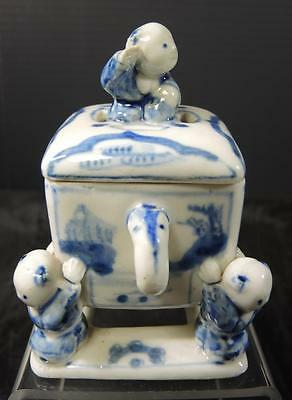 Early Chinese Blue & White Hand Painted Porcelain Box * Signed