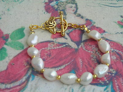 15% Discount!! Lovely White Iridescent Baroque Pearl Bracelet W. Rose Clasp