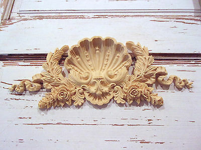 Furniture Appliques * Architectural Shell Crest * Flexible Paintable Stainable