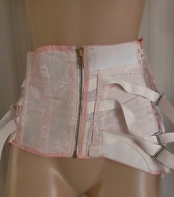 Vtg.1950's Pink Damask Fan Lace-Up Steel Boned Corset W/6 Garter Tabs 40