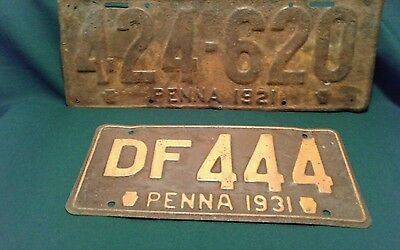 1931 & 1921 Penna Pennsylvania Car  License Plate Lot Of 2 Antique Vintage Rusty