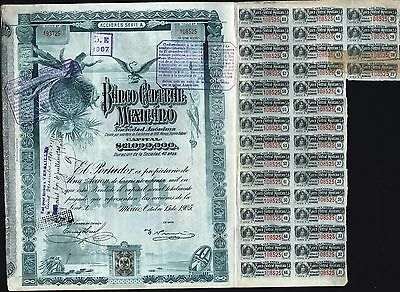 $100 Peso Banco Central Mexicano, 1905 24 Coupons             Stock Certificate