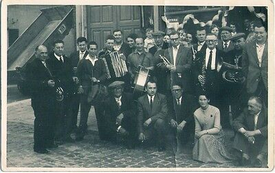 RPPC town band FRANCE drums horns accordian Vintage Postcard w/large crease