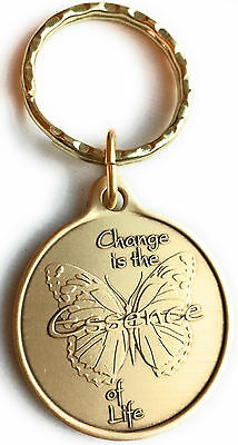 Change Is The Essence of Life Butterfly Bronze Serenity Prayer Change Keychain