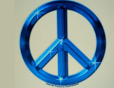 "Hippie Blue Peace Sign Sticker 2 1/3"" Across New"