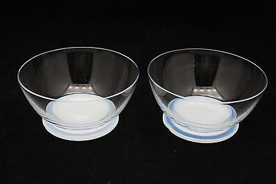 Pair Libbey Clear With Opalescent Base Finger Bowls