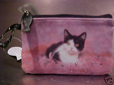 """Black And White  Cat """"tickle Me Pink """"  Coin Purse"""