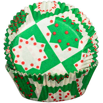 Green Christmas Cupcake Cases x60 Baking Muffin Christmas Holidays Seasonal