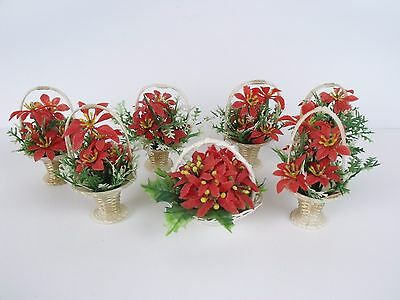 Vintage Poinsettia Baskets Christmas Ornaments 7 Holiday Decorations