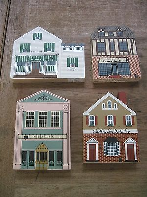 4 Cat's Meow Store Front Wooden Collectibles..Peltier's,Franklin Book,Garden The