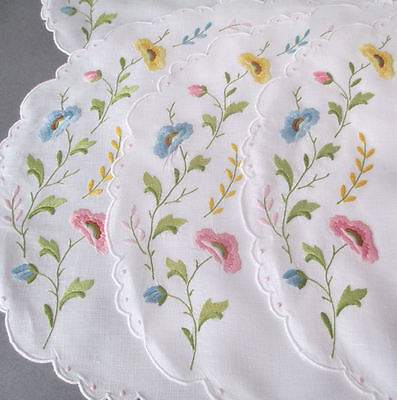 12-Pc Vintage MADEIRA Linen Hand Embroidered Placemats + Napkins FLOWERS Dots
