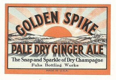 1930's Golden Spike Pale Dry Ginger Ale Label - Ottumwa, IA