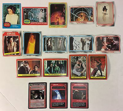 Princess Leia Carrie Fisher Lot of 17 Star Wars Cards 1977 Topps to 1997 CCG