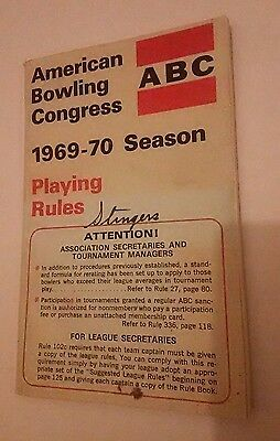 1969 - 1970 ABC American Bowling Congress Playing Rules Rulebook Summer Of Love
