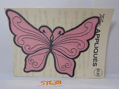1971 Vintage Embroidered Patch Applique Retro Hippie Pink & Black Butterfly