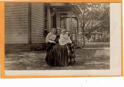 Real Photo Postcard RPPC - Woman on Chair with Quilt Holding Children - Sewing