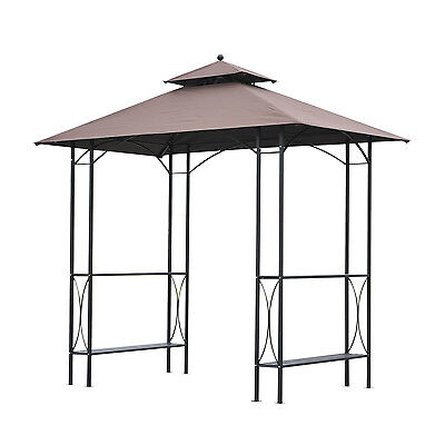 Outsunny Patio Gazebo Canopy Awning Waterproof Outdoor Roof Metal W/ Curtains
