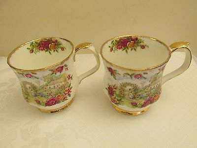 """2 x Royal Albert """"Celebration of Old Country Roses Garden"""" Mugs - 1st Quality"""