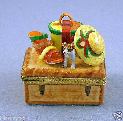 New French Limoges Box Jack Russell Terrier Dog Puppy On Chest W Hat Bag & Shoe