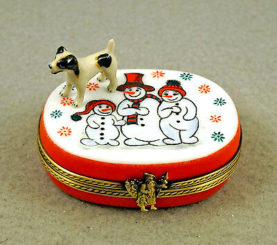 New French Limoges Trinket Box Jack Russell Terrier Dog Xmas Snowman Family Box
