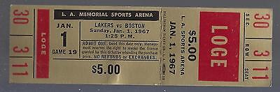 1966-67 Nba Boston Celtics @ Los Angeles Lakers Full Unused Basketball Ticket
