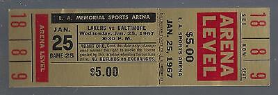 1966-67 Nba Baltimore Bullets @ Los Angeles Lakers Full Unused Basketball Ticket