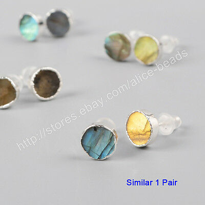 1Pair 925 Sterling Silver 8mm Round Natural Labradorite Stud Earrings HOT HSS089