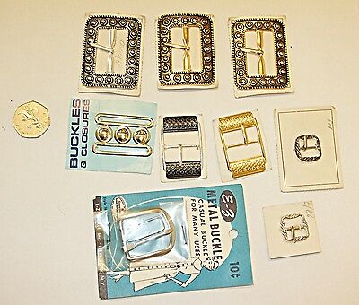 9 Unused Antique Vintage Buckles On Card Metal Good Little Collection