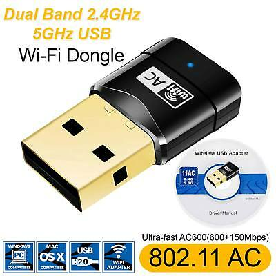 600 Mbps USB Dual Band Wireless Adapter 2.4-5GHz WiFi Dongle 802.11 AC Laptop PC