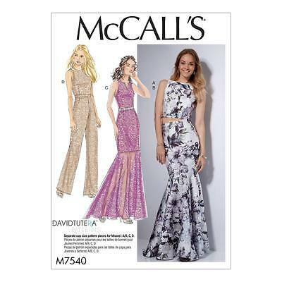 McCALL'S SEWING PATTERN MISSES' TOP DRESS SKIRT & JUMPSUIT SIZE 6 - 22 M7540