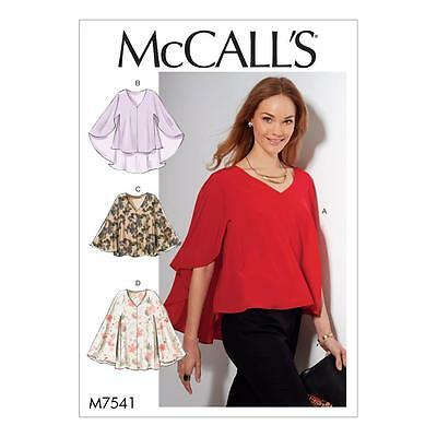 McCALL'S SEWING PATTERN MISSES' LOOSE FITTING PULLOVER TOPS SIZE XSM - XXL M7541
