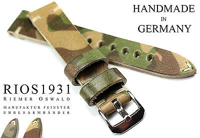 Uhrband 20mm Leder RIOS1931 German Vintage Camouflage MILITARY Extra STARK BAND