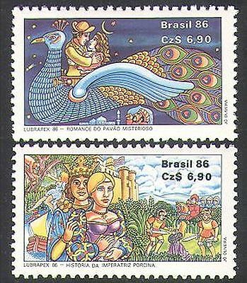 Brazil 1986 Peacock/Knights/Horse/Literature/Stories/StampEx/Birds/Art 2v n38115