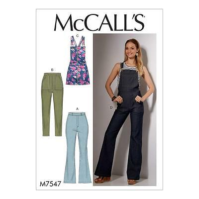 McCALL'S SEWING PATTERN MISSES' JEANS & OVERALLS DUNGAREE PINAFORE  6 - 22 M7547