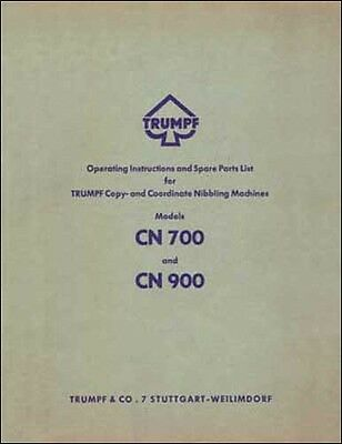 Trumpf CN700 and  CN900 Nibbler Operator's & Parts Manual
