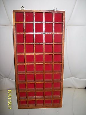 Wooden Hanging Thimble Holder Display Case Rack For 50 Thimbles Etc. Red Felt