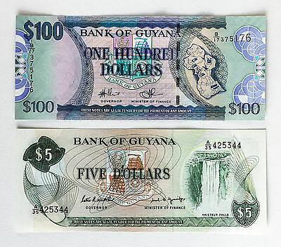 Set of 2 diff. Guyana paper money 5 and 100 Dollars Au-Unc.