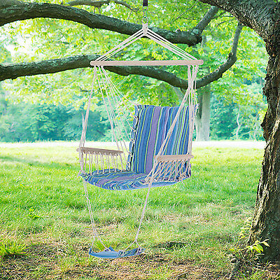 Outsunny Hammock Chair Hanging Swing Seat Outdoor Camp Porch w/ Armrest Footres