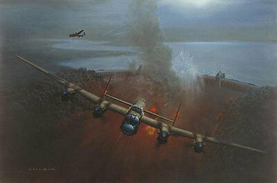 Gerald COULSON LE Print THE DAMBUSTERS - Breaching the Mohne Signed 4 Dambusters