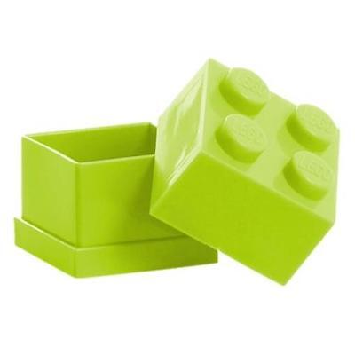 LEGO Brick Mini Box 4 Light GREEN Snack Food Container Lunch Storage Plastic