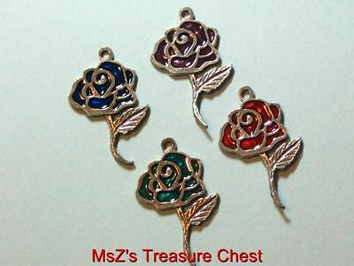 Pewter Rose Charms in  Sparkling Red, Blue, Purple & Green  * New w Gift Pouch *