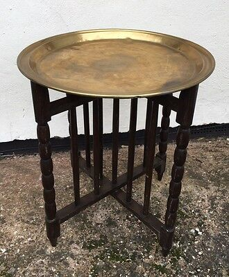 Vintage Folding Occasional End Table Brass Top Turned Legs