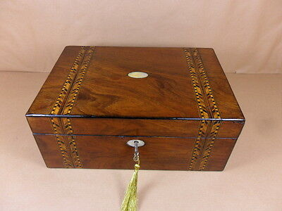 ANTIQUE VICTORIAN WALNUT  PARQUETRY  JEWELLERY/SEWING  BOX.C1860-1880 (Code 403)