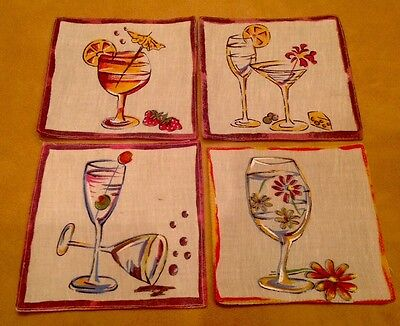 Four Cocktail Napkins Or Coasters, Martini, Wine, Cocktail Glasses, Cotton-Linen
