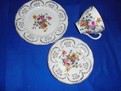 VINTAGE W.H. GRINDLEY, ENGLAND - TRIO - DECORATED WITH FLOWERS -  Satin White